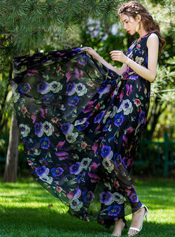 Stylish Print V-neck Sleeveless Slim Maxi Dress