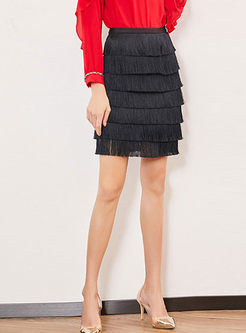 Fashion High Waist Tassel Slim Sheath Skirt