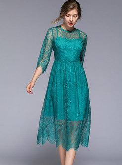 Pure Color Lace High Waist A Line Dress