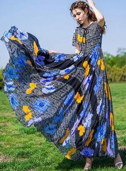 Chic Print Tie-collar High Waist Maxi Dress