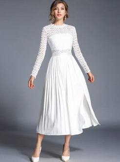 White Lace Mock Neck Slit Maxi Dress