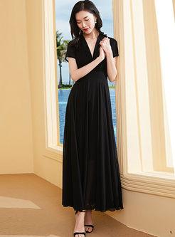 V-neck Solid Color High Waist Big Hem Dress