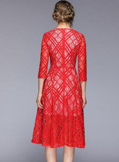 Elegant Lace V-neck High Waist Skater Dress