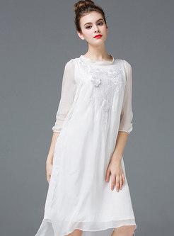 Elegant Pure Color Irregular Embroidered Shift Dress