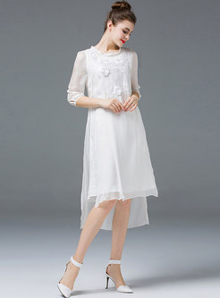Elegant Pure Color Irregular Embroidered Shift Dress