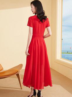 O-neck Short Sleeve Waist Big Hem Beach Dress