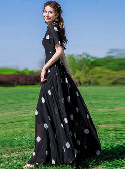 Stylish V-neck High Waist Polka Dot Chiffon Dress