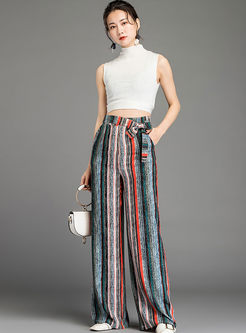 Casual Bowknot High Waisted Striped Wide Leg Pants