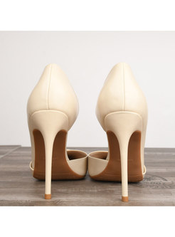 Chic Pointed Toe Bowknot High Heel Leather Shoes