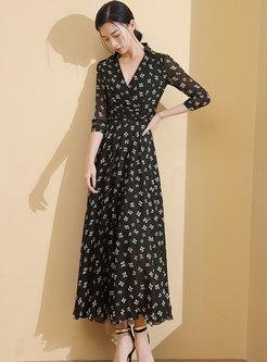 Stylish Print V-neck Gathered Waist Maxi Dress