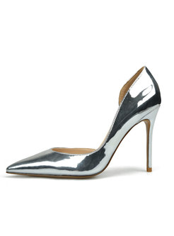 Fashion Silver Pointed Toe High Heel Leather Shoes