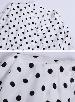 Polka Dot V-neck Slim Top & High Waist Wide Leg Pants