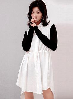 Tied Gathered Waist Plus-size T-shirt Dress
