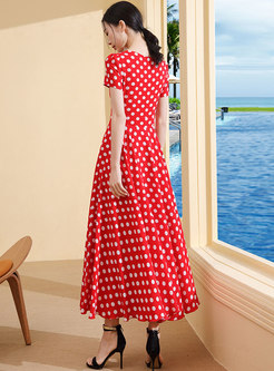 Polka Dot O-neck High Waist Slim Maxi Dress