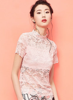 Turtle Neck Lace See-through Sheath T-shirt