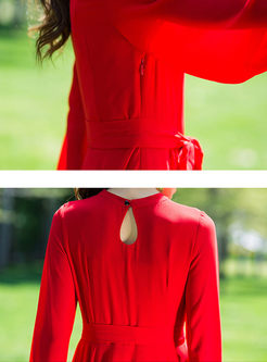 Solid Color V-neck Long Sleeve Bowknot Waist Dress