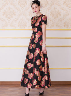 O-neck Short Sleeve Jacquard High Waist Maxi Dress