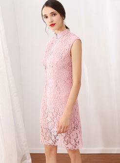 Retro Mandarin Collar Sleeveless Slim Bodycon Dress