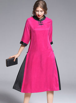 Vintage Color-blocked Mandarin Collar Slit Dress