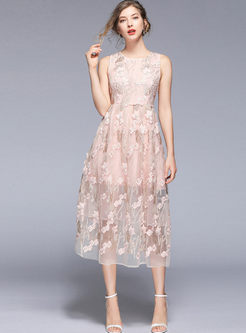 Trendy Sleeveless Embroidered Big Hem Skater Dress