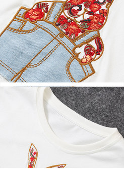 Brief All-matched Embroidered Daily T-shirt
