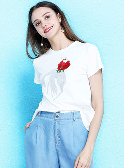 All-matched Embroidered Cotton T-shirt