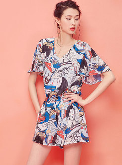 Chic Print V-neck Ruffle Sleeve Casual Rompers