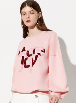 O-neck Pullover Letter Print Loose Sweatshirt