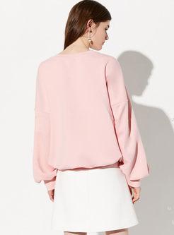 O-neck Pullover Letter Print Loose Sweatshirt