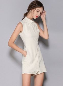 Elegant Stand Collar Sleeveless Pure Color Rompers