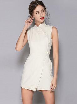 Elegant Stand Collar Sleeveless Pure Color Romper