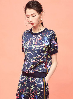 Fashion O-neck Short Sleeve Flowers Printed T-shirt