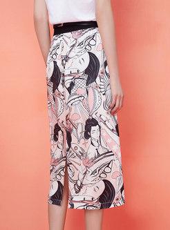 Chic Hand-painted Split Sheath Skirt