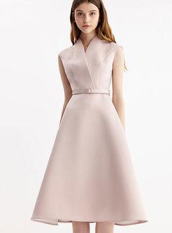 Pink V-neck Sleeveless Party Skater Dress