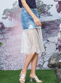 Stylish High Waist Denim Splicing Lace Skirt