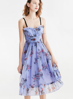 Sexy Slash Neck High Waist Print Mesh Dress