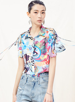 Stylish Print Lapel Tied Single-breasted Blouse