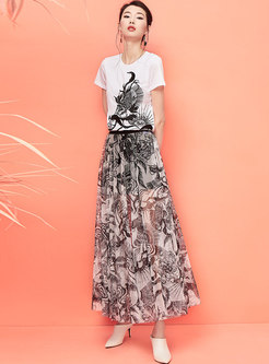 Stylish Print Elastic Waist A Line Skirt