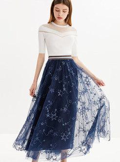 Chic Mesh Print Elastic Waist Skirt