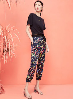 Multi-color Print Loose Casual Pants