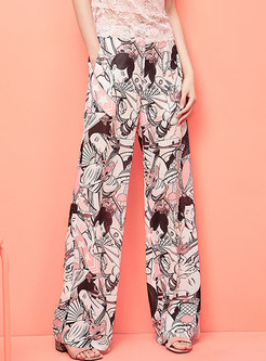 Chic Color-blocked Print Straight Pants