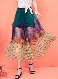 Stylish Color-blocked Splicing Mesh Skirt
