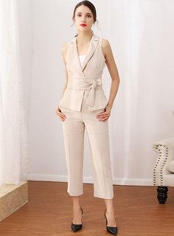 Elegant Sleeveless Tied Top & Straight Pants