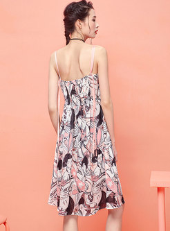 Fashion Color-blocked Print Chiffon Slip Dress