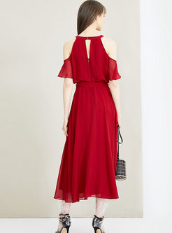 Wine Red Cold Shoulder Bowknot Maxi Dress