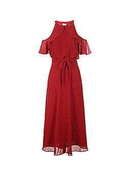 Sexy O-neck Off Shoulder Bowknot Waist Dress