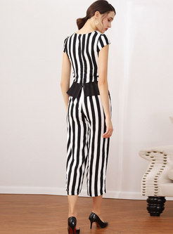 Chic Striped Tied Slim Top & Wide Leg Pants