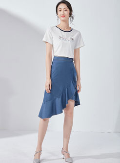 Fashion High Waist Falbala Irregular Denim Skirt