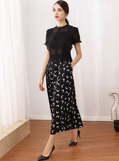Stylish O-neck Perspective Top & Print Slit Wide Leg Pants