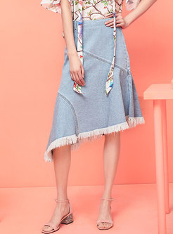Trendy Denim High Waist Tassel Asymmetric Skirt